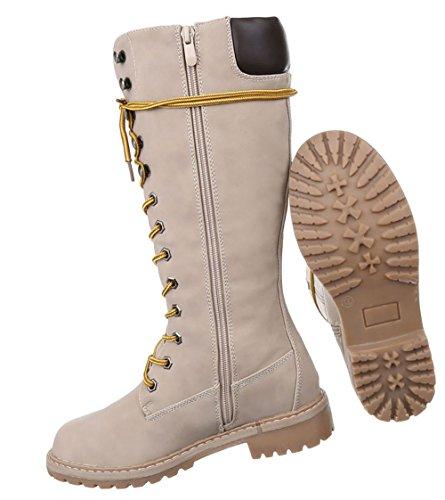 Damen Schuhe Stiefel Used Optik Schnür Boots Beige