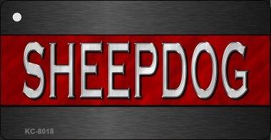 Sheepdog Thin Red Line Novelty Key Chain (Sheepdog Dog Keychain)