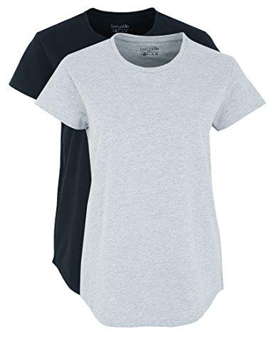 Berydale Bd324, Camiseta para Mujer (Pack de 2) Multicolor (Hellgrau Melange/schwarz Hellgrau Melange/schwarz)