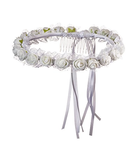 Girls First Communion White Rosebud Headpiece with Tulle Details