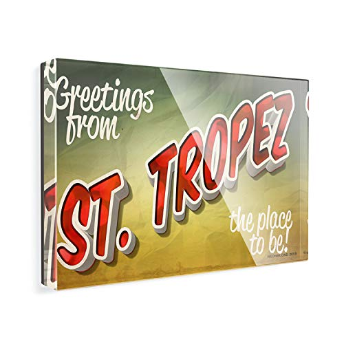 Acrylic Fridge Magnet Greetings from St. Tropez, Vintage Postcard NEONBLOND