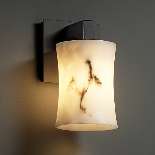 Justice Design Group LumenAria 1-Light Wall Sconce - Matte Black Finish with Faux Alabaster Resin Shade