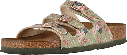 Birkenstock Florida Soft Footbed Limited Edition Sandal - Women's Meadow Flowers Khaki Birko Flor, 38.0