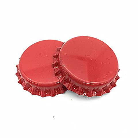 IGOGO 100 PCS Crown Bottle Caps Double Both Sided Colors Craft Linerless 2 sided Red