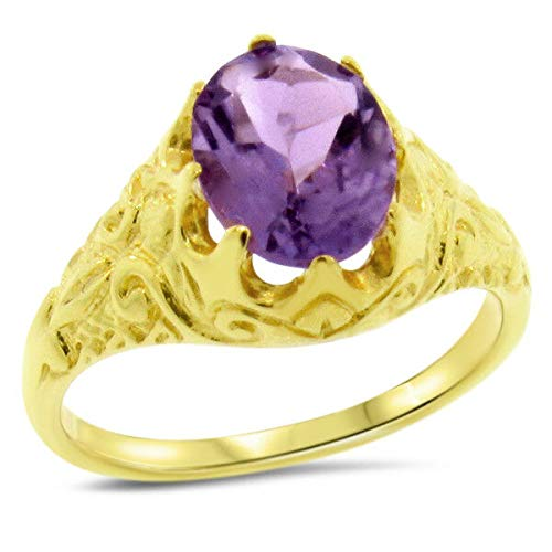 - Genuine Amethyst Brazil 24K Gold & 925 Silver Antique Style Ring Size 9 KN-4291