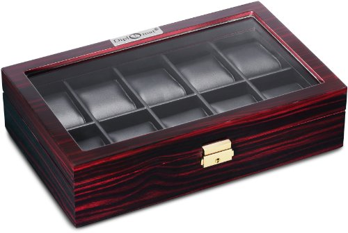 Diplomat 31-57601 Ebony Wood Finish with Clear Top and Black Leather Interior 10 Watch Storage Case ()