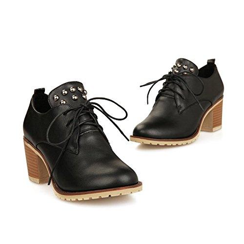 Le Donne Carolbar Allacciate Rivetti Borchiati Alla Moda Popolare Scarpe Oxford Tacco Medio Nero