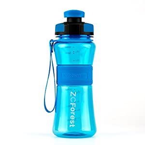 ZCForest 18oz 550ml Water Bottle Wide Mouth BPA-Free Portable Travel Sports Water Bottle--Blue