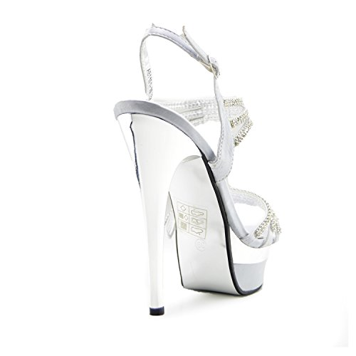 Kick Footwear Womens Platform High Heel Party Shoes Silver wGMBJVK