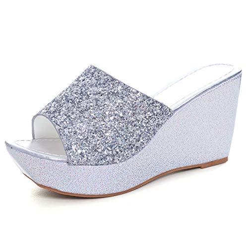 (Sequined Bling Women Wedges Slides Sandals Summer Fashion Platform Sandals Mid Heel Peep Toe Dress Slippers Shoes Sliver)