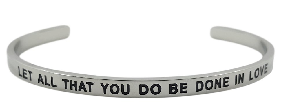 ''Let All That You Do Be Done in Love 1 Corinthians 16:14'' Christian Bible Verse Religious Positive Message Cuff Bangle Bracelet, Inspirational Jewelry Gifts for Women, Teen Girls