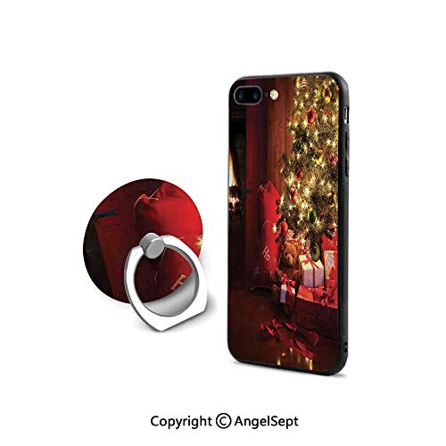 Protective Case Compatible iPhone 7/8 with 360°Degree Swivel Ring,Xmas Scene with Decorated Luminous Tree and Gifts by The Fireplace Artful Image,Durable Soft Touching,Red Yellow