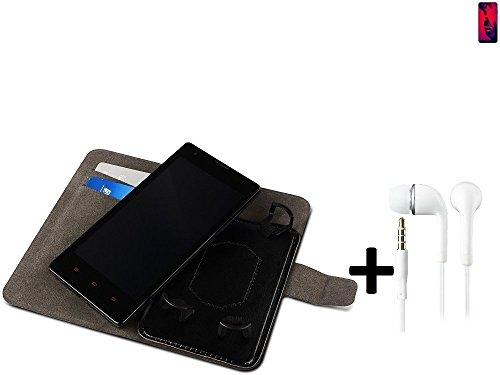 TOP SET: Funda para el Huawei P20 Pro Dual-SIM + auriculares, Walletcase hecho de cuero sintético en negro, monocromático y simple. Bolsillo para el teléfono móvil con ranuras para tarjetas de crédito
