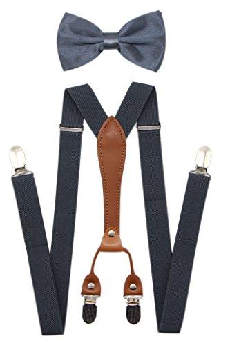 JAIFEI Suspenders & Bowtie Set- Men's Elastic X Band Suspenders + Bowtie For Wedding, Formal Events (Dark Grey)