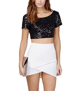 Women's Glitter Sequins Backless Crop Tops Candy colors Short Sleeve T-shirt Small Black