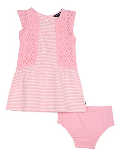 Nautica Baby Girls' Stripe Slub Jersey Dress, Light Pink, 18 Months