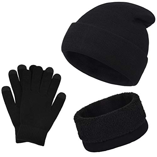 VBIGER Winter Warm Knit Hat + Scarf + Touch Screen Gloves,Unisex 3 Pieces Knitted Set for Men Women (Black)