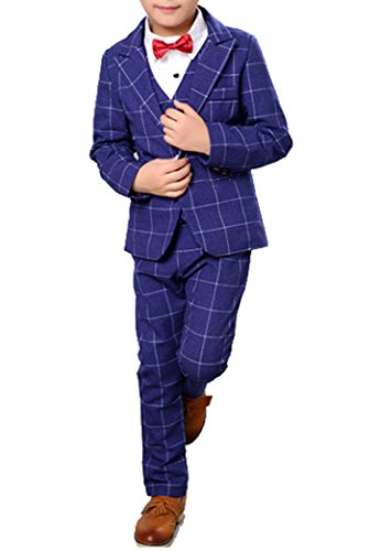 Blue Plaid Suit (Boys Plaid Gray Blue Red Suit Set with Grid 3 Pieces Jacket Vest Pants Set (2T, Blue))