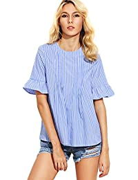 ROMWE Women's Cute Blouse Short Sleeve Summer Tunic Top