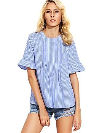 Romwe Women's Cute Blouse Short Sleeve Summer Tunic Top Blue S
