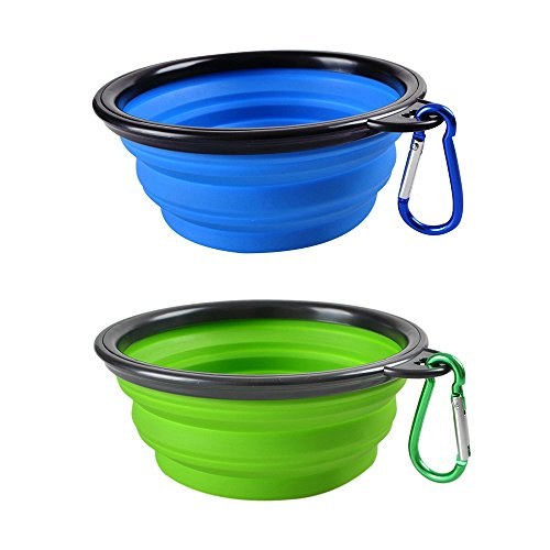 (Ansi Home Dog Travel Bowls Portable Collapsible Foldable Expandable Pet Dog Cat Feeding Travel Silicone Bowl (2-Pack) )
