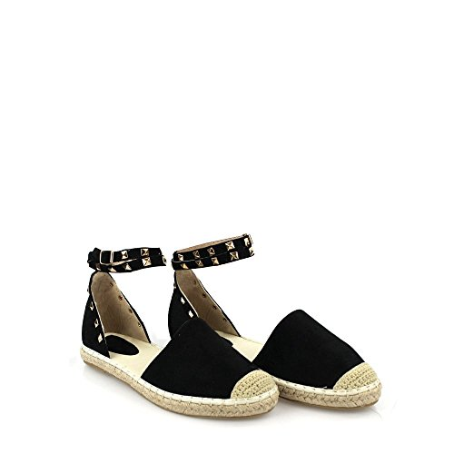 Brea Ladies Women Flat Ankle Strap Espadrille Round Toe Shoe BLACK SUEDETTE m4FHK6