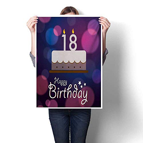 Hunterre 18th Birthday Modern Canvas Painting Wall Art Cartoon Birthday Party Cake with Candles Vibrant Abstract Backdrop Frameless Canvas Texture Decoration 32