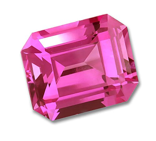 8x6mm Octagon Emerald Cut Gem Quality Chatham Lab-Grown Pink Sapphire Weighs 1.80-2.20 Ct.