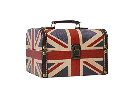 Antique Leather Luggage (Bestwoohome Waterproof Leather Jewelry Storage Box Necklace Treasure Organizer Holder (British Flag))