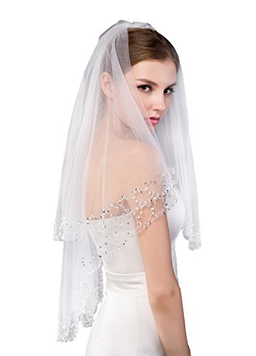 EllieHouse Women's Short 2 Tier Elbow Length Ivory Wedding Bridal Veil With Free Comb L25IV