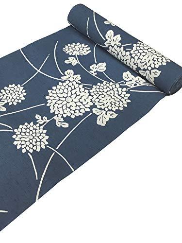 拡大する刈るノベルティ三勝染 型染め ゆかた 綿100%【日本製】納戸色 浴衣 反物