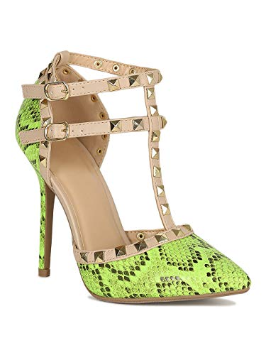 Alrisco Women Studded Strappy Caged Pointy Toe Stiletto Heel RJ87 - Neon Green Snake (Size: 10) ()