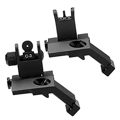 SOUFORCE Front & Rear Flip Up 45 Degree Backup Iron Sight Set for Picatinny & Weaver Mount