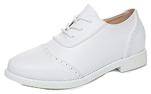 Comfy Women's Heel Stitching Sneakers Aisun Low White Toe Lace Up Pointed T8WW5ngFx