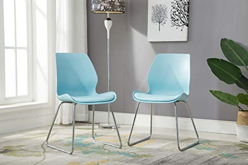 (Porthos Home LVC003A BLU Modern Cushioned Dining or Side Chair with Chrome Finish Sled Base, Easy Assembly, White or Turquoise, Set of 2, One Size, Blue)