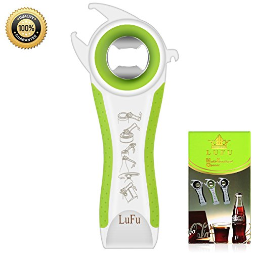 Multi-function professional 6 in 1 LUFU bottle opener. Being effort-saving, safe and efficient in bottle opening, Comfortable beautiful non-slip handle with rubber coating. (Green)