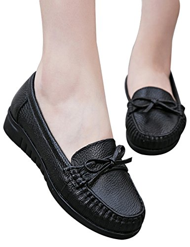 Street for Leather Loafers Black Women Zoulee Grand Genuine Moccasins Slip Fashion Flats Driving On qwR5B8BA