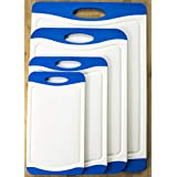 [X-Large Set] 4 Pcs Premium White Plastic Cutting Board Set BPA-Free PP with Juice Groove and Rubber Non-Skid Edges Thick Cutting Board Set Includes S, M, L, and XL Sizes by Misc Home
