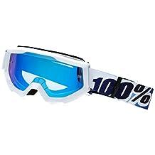 100% Strata MX Goggles Mirror Lens Ice Age White/Blue