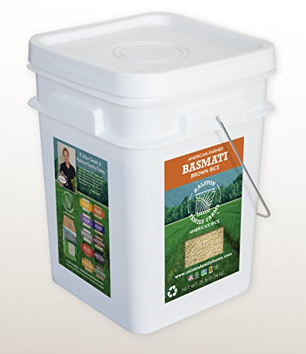 Artisanal Basmati Brown Rice, 25 lb pail, Sustainably Grown in the U.S.A, Farm to Table Experience