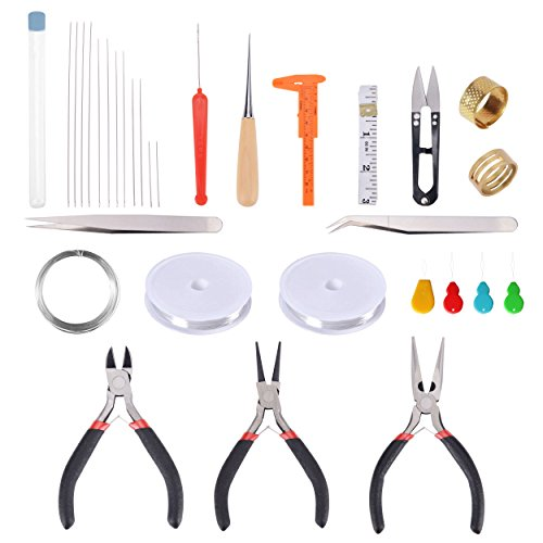 Review Paxcoo 32Pcs Jewelry Making Supplies Repair Kit with Jewelry Pliers and Beading Wire