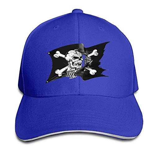 SNMHILL Men Women Black Ink 3D Pirate Flag Tattoo Fashion Peaked Sandwich Hat Sports Adjustable Baseball Cap Unisex