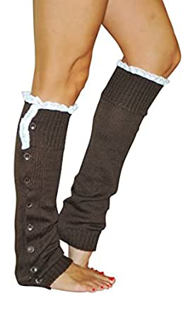 Knitted Leg Warmers With Lace Trim (Chocolate)