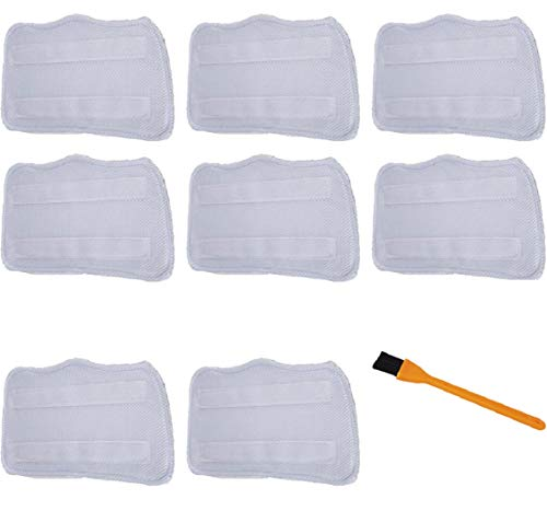Hongfa (8 Packs) Shark Microfiber Mop Pads, Replacement for Shark Steam Mop Pads S3101, S3102, S3250, S3251, SK115, SK140, SK141, SK435CO, SK460 SS460WM,with a Free Cleaning Brush
