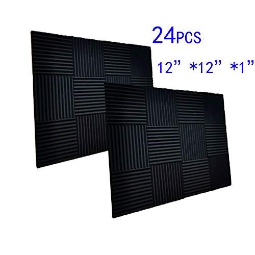 24 Pack Black Acoustic Panels Studio Foam Wedges 1