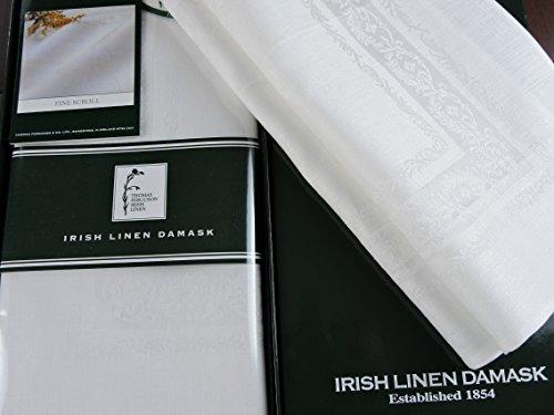 Thomas Ferguson Fine Scroll White Linen Double Damask Placemats (Set of 6) by Thomas Ferguson Irish Linen