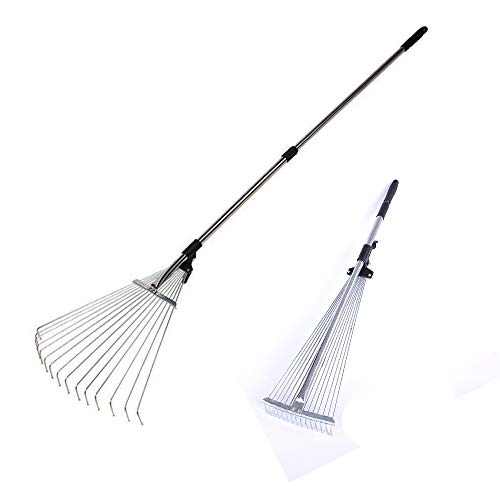 "NEPPT Yard Rake Telescopic Garden Rake Adjustable Metal Lawn Grass Raking Leaves 63 to 30""Expandable Camping Portable Hand Tool (Silver) by NEPPT"