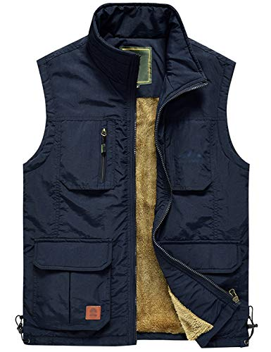 Jenkoon Men's Casual Lightweight Outdoor Travel Fishing Hunting Vest Jacket with Pockets (Navy-04, X-Large) (Buckle Mens Vest 4)