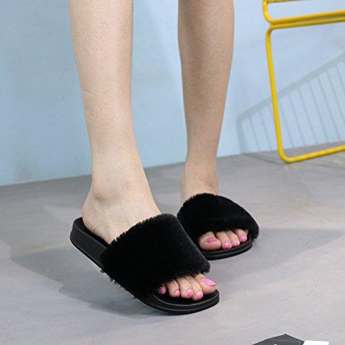 Fausse Flip Plat LILY999 Fourrure Chaussons Femmes Antidérapante Fluffy Noir Flop Slipper Sandal Souple WEqEYAwz