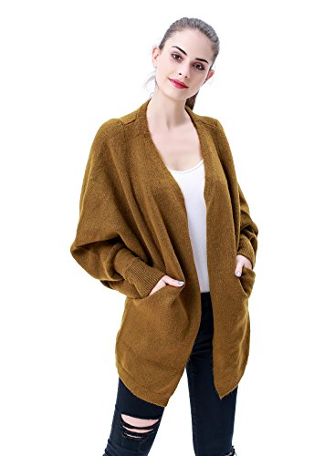 MEEFUR Women's Loose Fit Knitwear Batwing Sleeve Knit Cardigan Open Front V-Neck Pullover Rib Cuff Sweater Coat with Pockets Brown
